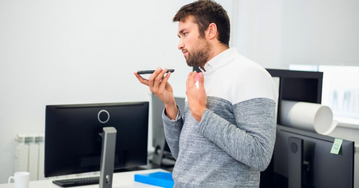 man speaking on phone